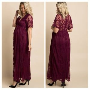Burgundy Lace Mesh Overlay Maternity Maxi Dress